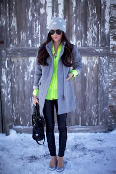 Love pairing this bright AT summer top with winter grey and black!