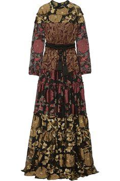 Lanvin|Paneled metallic fil coupé crepe and silk-blend chiffon maxi dress|NET-A-PORTER.COM