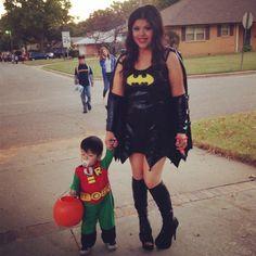 Mommy and Son Halloween costume idea. Batmom and Robin ❤️