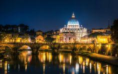 Fonds d'ecran Italie Temples Rivières Ponts Rome Vatican City Nuit ...