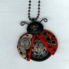 Steampunk Ladybug Necklace Polymer Clay Jewelry by Freeheart1, $24.00