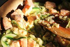 recipe, pasta, salmon, zucchini, quick, glutenfree