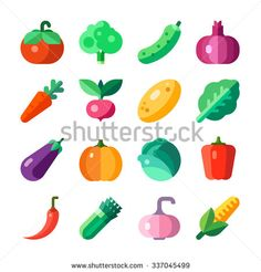 Isolated vegetables set: tomato, broccoli, cucumber, onion, carrot, radish, melon, squash, salad, eggplant, cabbage, pepper, chili, corn, pumpkin, garlic, spinach. Flat vector illustration set. - stock vector