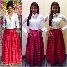 Yay or Nay : Kajal Aggarwal in Payal Khandwala Kurta Designs, Saree Blouse Designs, Indian Skirt, Indian Dresses, Indian Outfits, Shirtdress Outfit, Indian Attire, Indian Wear, Indian Designer Outfits
