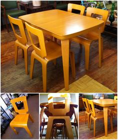 Thaden Jordan dining set  They made airplane propellers during WWII. After the war, they switched to making molded plywood furniture. 1947-52.