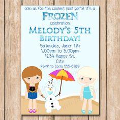 Snow Princess Frozen Pool Party Birthday Invitation   Elsa, Anna, Olaf, Swim, Water -1.00 each printed or 10.00 DIY file on Etsy, $1.00