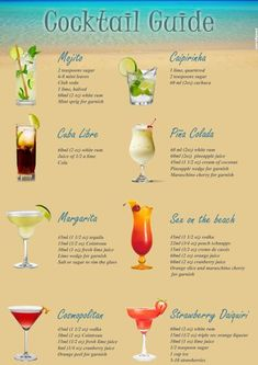For all of you who have been dreaming of a cool drink under the hot sun, with the sea waves splashing on your feet, all winter long. A printable, Cocktail Guide of the most popular summer drinks, to…More Put a twinkle to your occasion utilizing a variet Alcholic Drinks, Alcohol Drink Recipes, Tiki Drink Recipe, Frozen Drink Recipes, Mixed Drinks Alcohol, Party Drinks Alcohol, Classic Cocktails, Easy Cocktails, Names Of Cocktails
