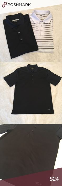 2 pack men's golf shirts (Adidas and Greg Norman) 2 shirts... black Greg Norman and white with black stripe Adidas.  Both large.  White shirt has small spot on front that is hard to see (see picture). Adidas & Greg Norman Shirts Polos