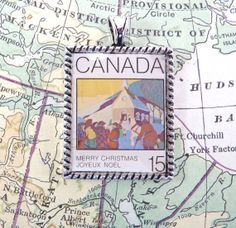 Vintage Canada Christmas Postage Stamp Necklace Pendant by 12be, $14.50