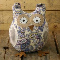 Owl Doorstop - Blue Paisley Pattern Fabric Door Stop