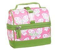 Mackenzie Pink Butterfly Retro Lunch Bag