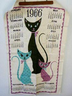 Vintage RARE 1966 Retro Calendar Towel with Cool by VintageShop, $32.00