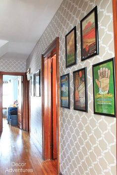 Hallway Decorating Ideas - Hall Storage and Design - Good Housekeeping Hallway Decorating, Decorating Your Home, Decorating Ideas, Decor Ideas, Old Fashioned Christmas Decorations, Hallway Colours, Stencil Decor, White Picture Frames, Striped Walls