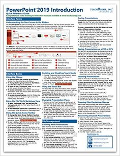 Amazon ❤ Microsoft PowerPoint 2019 Introduction Quick Reference Training Tutorial Guide (Cheat Sheet of Instructions, Tips & Shortcuts - Laminated Card)