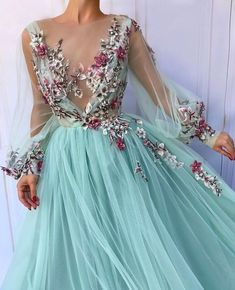 Teuta Matoshi Duriqi™: Turquoise Queen TMD Gown - Turquoise dress color - Tulle fabric - Handmade embroidery flowers - A-line and V-neck shape with long sleeves - Fairy looking dress with fowers Prom Dresses 2018, Prom Dresses With Sleeves, Tulle Prom Dress, Dress Party, Wedding Dresses, Bridesmaid Dress, Dresses 2014, Modest Wedding, Gown Wedding