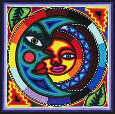 This beautiful, one-of-a-kind yarn painting was made by pressing thin strands of yarn into natural beeswax spread over a wooden board. Created solely by the Huichol and Tepehuano Indians of southwestern Mexico, they often represent spiritual dreams of the Shaman.