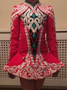 Glamorous Red Gavin Doherty Irish Dance Dress Solo Costume For Sale