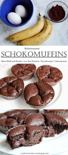 {REZEPT} – Kalorienarme Bananen-Ei-Schoko Muffins // Kein Zucker und Mehl // 7 S… {RECIPE} – Low-calorie banana-egg-chocolate muffins // No sugar and flour // 7 smartpoints for all // WeightWatchers Healthy Cake, Healthy Dessert Recipes, Healthy Baking, Cupcake Recipes, Healthy Desserts, Healthy Cookies, Low Carb Desserts, Low Carb Recipes, Keto Friendly Desserts