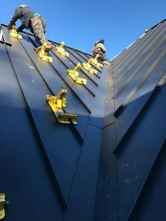 Standing Seam : Standing seam metal roof in Carver MA Metal Roofing Systems, Roofing Tools, Roof Safety Harness, Metal Roof Installation, Roof Cladding, Standing Seam Roof, Villa, Solar Roof, Roof Detail