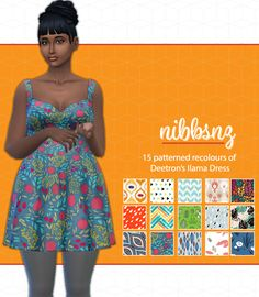 """nibbsnz: """" Deetron's Patterned Ilama Dress I love everything the lovely @deetron-sims makes and this cute sundress is no exception. 15 recolours using all new patterns from me (I was getting bored..."""