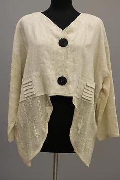 Prisa Collection Berlin Designer Artsy Linen Cropped Asym Jacket Beige $315 | eBay
