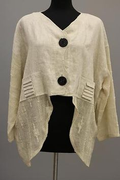Prisa Collection Berlin Designer Artsy Linen Cropped Asym Jacket Beige $315 | eBay