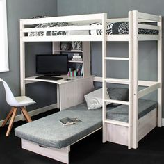 Futon bunk bed - Thuka Hit High Sleeper Bed with Desk & Chairbed Cute Bedroom Ideas, Cute Room Decor, Girl Bedroom Designs, Room Ideas Bedroom, Bed Designs, Loft Bed Room Ideas, Loft Bed With Couch, Bunk Bed With Desk, Bunk Bed Desk