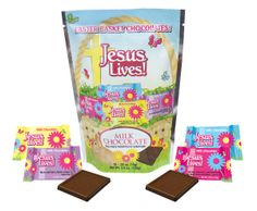 NEW! MILK CHOCOLATE - Jesus Lives! is brightly displayed on every pouch and wrapper. Each stand-up pouch contains 10 rich, smooth, milk chocolates. Each chocolate is individually wrapped in one of 4 colors and a scripture. Proudly made in the USA. Great for Easter baskets!