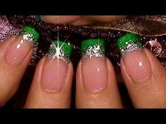 DIY Nails Art :DIY Glitter Nails Art : Easy Green Glitter Glitz French Manicure Nail Art Tutorial