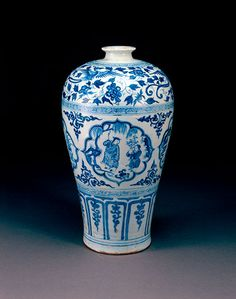 "Blue and white ""Four flowers"" meiping, Yuan dynasty. Height 38.7cm. Diameter 6.4cm. Excavated in 2006 from the tomb of Prince Yingjing at Zhongxiang."
