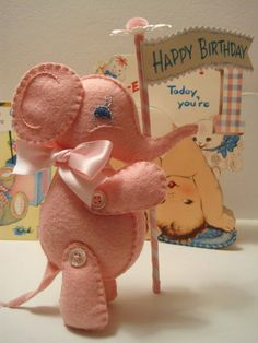 *FELT ART (plush) ~ elephant pattern from Creative Breathing Sewing Toys, Sewing Crafts, Sewing Projects, Felt Projects, Plushie Patterns, Felt Patterns, Felt Diy, Felt Crafts, Happy Birthday Today