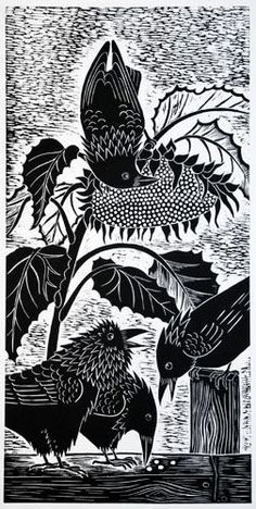"You was never no locomotive sunflower! ""SunFlower Robbers"" by Dona Reed, Rainshadow Arts Crow Art, Raven Art, Bird Art, Linocut Prints, Art Prints, Block Prints, Choucas Des Tours, Illustrations, Illustration Art"