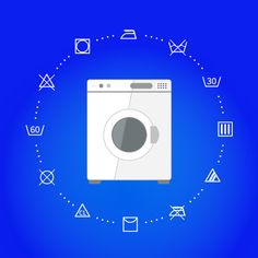Wash machine with laundry icons by Evgeniy on @creativemarket