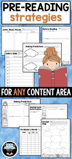 This packet contains activities that will set students up for success before reading in any content area. Designed to scaffold reading comprehension of higher-level texts for all students, this packet contains multiple strategies and graphic organizers. Pre Reading Strategies, Comprehension Strategies, Teaching Strategies, Reading Activities, Literacy Activities, Teaching Reading, Reading Comprehension, Cafe Strategies, Teaching Ideas