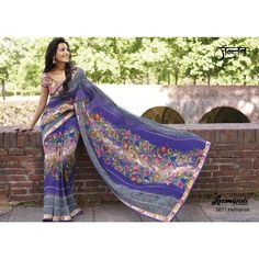 Laxmipati Georgette Designer Printed Saree in Purple Maze & Marble Blue colour Navy Blue Saree, Indian Clothes Online, Printed Sarees, Saree Collection, Wedding Wear, Sarees Online, Indian Outfits, Daily Wear, Print Design