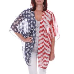 By Together Women's American Flag Kimono