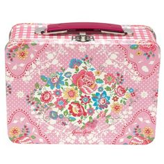 pink lunchbox...    floral / roses / gingham checks.   I want to take my lunch somewhere now.