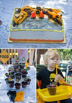 Construction Site Themed Bday - hardhats, tools & belts to play in a sand pit. Rides on a front loader. Dirt & worms for dessert.