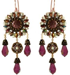 Earrings with Pearl, Gold Fill, Dangle Drop Swarovski Crystal, Beaded by Esther Marker