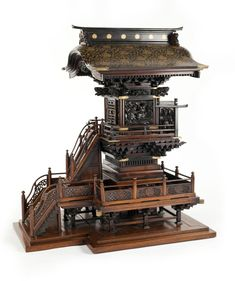 A large and elaborate wood and lacquer model of a shrine Meiji period (late century) Japanese Bonsai Tree, Japanese Bamboo, Japanese Art, Japanese Restaurant Interior, Asian Architecture, Wooden Art, Model Homes, Installation Art, 19th Century