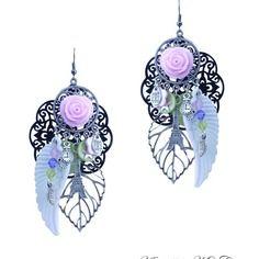 Boucles d'oreilles fleur noir rose et blanc - boucle d'oreille romantique fait main milacréa