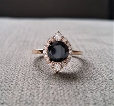 """Black Moissanite Diamond Engagement Ring Halo Bohemian Art Deco Indian Vintage Antique 14K Rose Gold Exclusive """"The Jasmine"""" by PenelliBelle on Etsy #vintageengagementrings"""