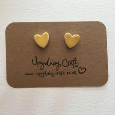 Ceramic heart stud earrings  Medium  Yellow