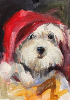 Christmas Pooch 7 x 5 Original Acrylic by John K. Harrell, painting by artist John K. Harrell