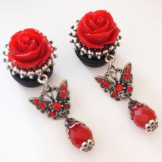 Red Butterfly 5/8 inch 16mm Dangle Plugs For by Glamsquared, $33.00