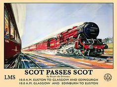 LMS Steam Trains Scot Passes Scot, Railway Enigne, Small Metal/Tin Sign, Picture | eBay