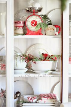 Inspiring Farmhouse Christmas Decor on Frugal Coupon Living. Creative ideas for the Christmas season including rustic metals, distressed woods, and everything red and green. Primitive Christmas, Cottage Christmas, Farmhouse Christmas Decor, Christmas Kitchen, Country Christmas, Christmas Dishes, Merry Little Christmas, Christmas Love, Winter Christmas