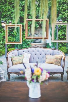 vintage couch used for wedding reception lounge area ... Picture frames ... Rustic glamorous, country elegance, shabby chic, vintage, whimsical, boho, best day ever