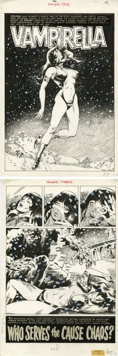 "Vampirella #8, original comic art. ""Who Serves the Cause Chaos?"" 1970, Tom Sutton."