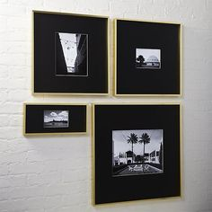 Shop gallery brass picture frames with black mats. Exhibit your favorite photos gallery-style. Creating a display of modern proportions, oversized black mat floats a single photo within a sleek frame of brass-finished aluminum. Unique Picture Frames, 8x10 Picture Frames, Black Picture Frames, Frames On Wall, Bathroom Picture Frames, Marco Diy, Modern Floor Mirrors, Home Wall Decor, Cadre Photo